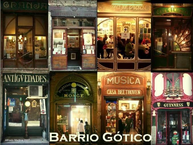 Foto-montaje Comercios del Barrio Gótico (Barcelona) ESPAÑA 2007